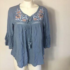 R1893 peasant top embroidered blouse Medium boho